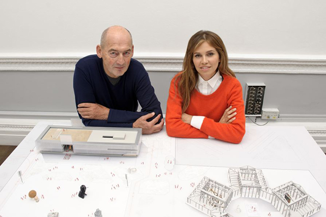 Dasha Zhukova with Rem Koohaas and a model for the new Garage Museum of Contemporary Art