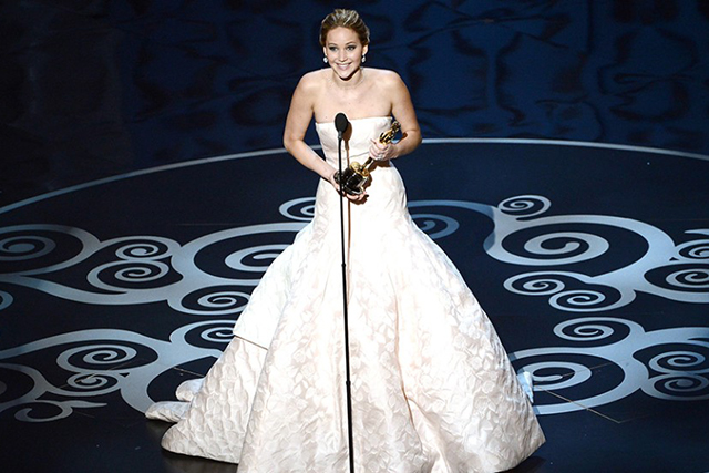 Jennifer Lawrence at the 2013 Academy Awards (image: Getty)