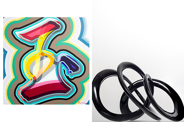 (L): Shintaro Nakahara, 'Gem', 2015. Acrylic on canvas, 183x183 cm (R): Ray Haydon, 'Volume 0211', 2014. Carbon fibre, 87x56x54 cm. All courtesy of Sanderson Contemporary
