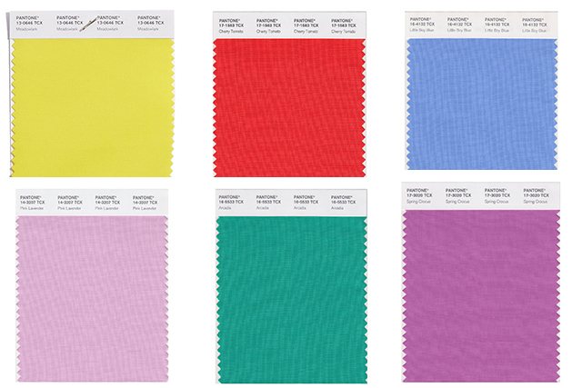 Selection of Pantone's spring 2018 fashion colours