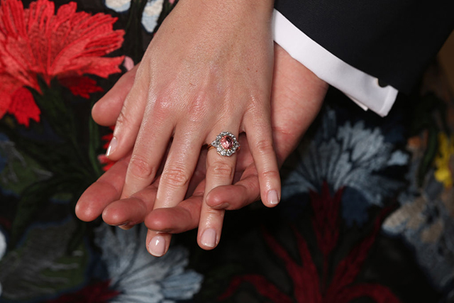 Princess Eugenie's engagement ring. Image: Getty