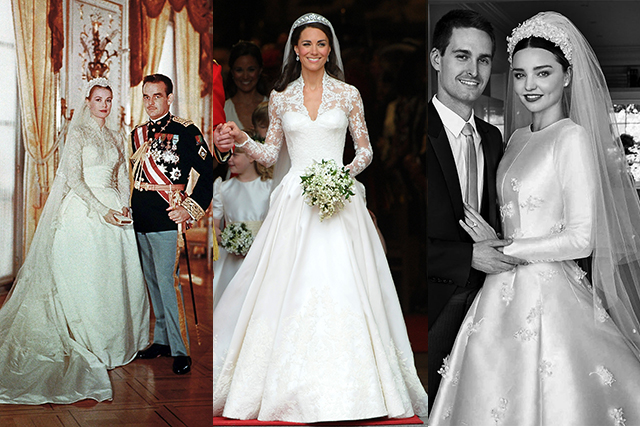 Grace Kelly, Princess Kate, Miranda Kerr wedding dresses