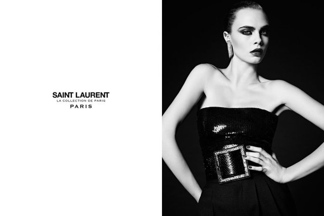 Cara Delevingne smoulders in Saint Laurent Couture
