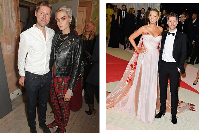 Christopher Bailey with Cara Delevingne and Blake Lively