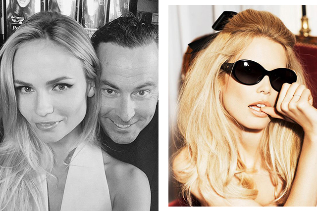 Christophe Robin with Natasha Poly (left). Claudia Schiffer Vogue IT 2008 (right).