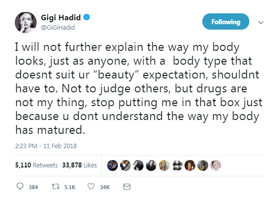 "Gigi Hadid slams body-shamers for calling her ""too skinny"""