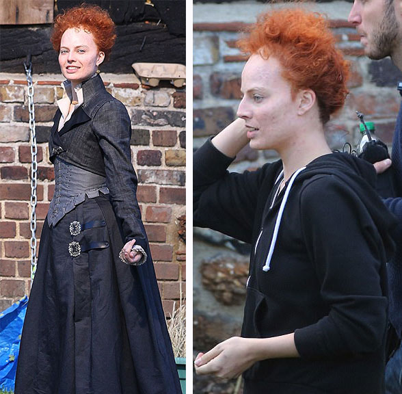 Margot Robbie on set of 'Mary, Queen of Scots'