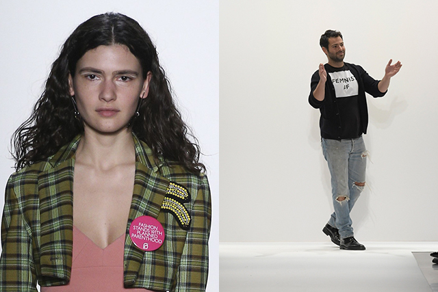 Planned Parenthood badges at Tome, Jonathan Simkai wears his 'Feminist AF' tee