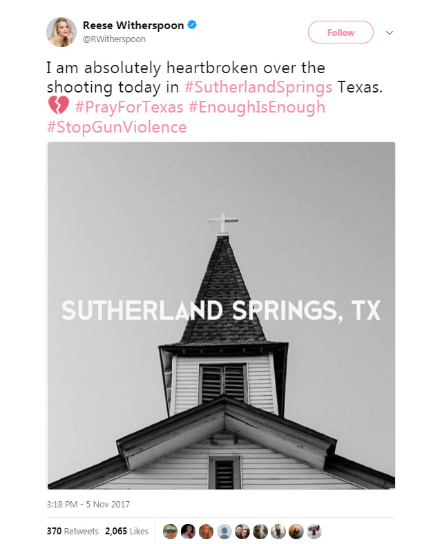 """Absolutely heartbroken"": celebrities respond to the Texas church shooting (фото 8)"