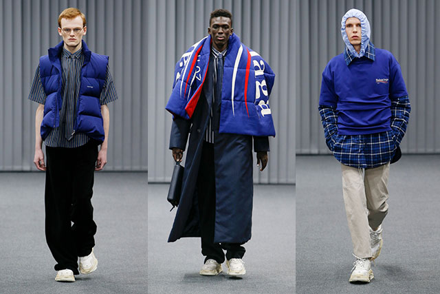 Looks from the Sanders-inspired A/W'17 Balenciaga men's presentation in Paris this week.