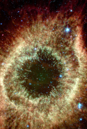 "The Infrared Helix: ""The Helix nebula exhibits complex structure on the smallest visible scales. It is composed of gaseous shells and disks puffed out by a dying sun-like star."""