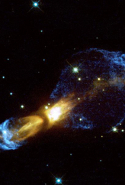 "Rotten Egg Nebula: ""Violent gas collisions that produced supersonic shock fronts in a dying star are seen in a new, detailed image from NASA Hubble Space Telescope."""