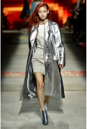 There was also a nod to disco via metallic minidresses, silver space boots and overcoats. Very turn of the millennium-esque.