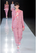 As you'd expect from Armani, suits and tailored pants were aplenty. Millennial pink, powder blue, lavender and white were used throughout the collection.