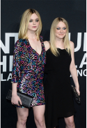 With older sister Dakota Fanning in 2016