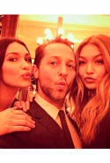 With Bella and Gigi Hadid