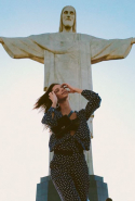 "Bruna Lirio did jet home to Brazil, but spent her time off after the show visiting some of her native country's famous sights, like the Cristo Redentor in Rio de Janeiro ""for the first time."""