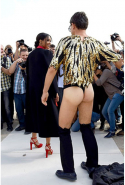 During Paris fashion week in 2014, singer Ciara got caught up in Vitalii's idiotic ways at the Valentino fashion show. Ciara received a very palpable hug from Vitalii, who was inaptly dressed in nothing but a G-string and sequinned top (our eyes are still burning).
