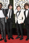 Caleb McLaughlin, Finn Wolfhard, Noah Schnapp, and Gaten Matarazzo from 'Stranger Things'