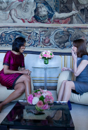 Michelle Obama meets with the First Lady of France Carla Bruni-Sarkozy at the Palais Rohan on April 3, 2009 in Strasbourg, France