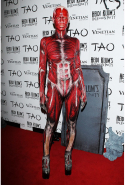 Heidi Klum as a body with skin ripped off