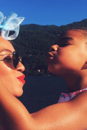 A cute moment between Beyonce and Blue Ivy in Lipari, Sicily / @beyonce