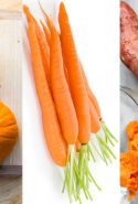 Carrots, pumpkin and sweet potato cover the B-carotene antioxidants, which help protect skin against the ultimate ageing agent, the sun.