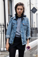 Boyfriend denim jacket: MUST be '90s in style and worn slightly oversized.