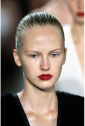 8. Bold matte lips. Goodbye lip gloss, hello pressed-on pigments. At Victoria Beckham and Jason Wu it was all about a bright red stain; at Marchesa and Carolina Herrera, vibrant fuchsia. The finish is velvety and matte.