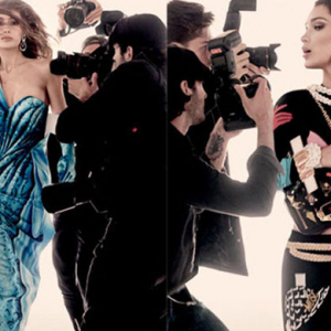 Watch: the Hadid sisters go head to head with paparazzi for Moschino
