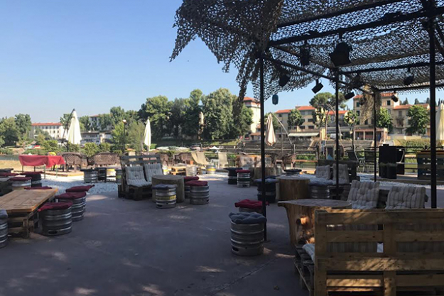 Easy Living beach bar by the river, ahead of a busy few days as part of the Guest Nation at Pitti Uomo.