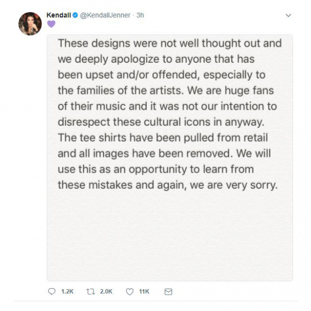 Kendall's apology