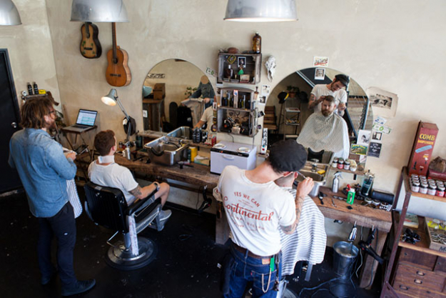 Tooth & Nail - Three close friends Daniel Blakemore, Connor Keighran and Jake de Varine-Bohan combined forces to create a barber shop filled with stacks of rustic charm. Tooth & Nail is a space where an Australian garden shed meets old-school Americana. All timber in the shop is recycled and locally-sourced and the main workbench once had a previous life in the Australian Railways. 1 Addison Rd, Marrickville www.toothandnailsydney.com/