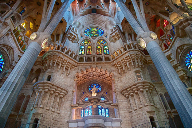 4. La Sagrada Familia de Barcelona, Spain. Striking, imposing and one-of-a-kind, we're a little awe-struck by this unfinished Spanish church, designed by Gaudi. No wonder people flock to it.