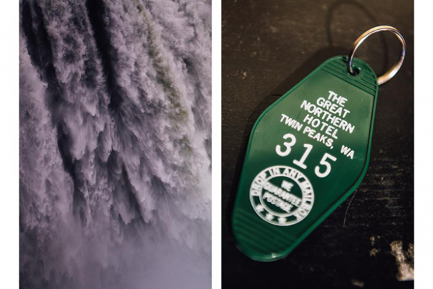 8.	L: Snoqualmie Falls. The Salish Lodge in Snoqualmie doubled for the Great Northern Hotel. R: A replica of Agent Coopers room key. Found in the gift store at the Salish Lodge.