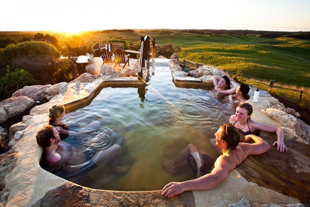 'Peninsula Hot Springs', Mornington Peninsula, Victoria: voted 'Best Luxury Mineral Spa' in the 2014 World Luxury Hotel Awards, this retreat on a 17-hectare property in the stunning Morning Peninsula is the REAL deal. Offering more than 20 different styles of relaxation, including thermal mineral spring pools, an underground sauna, private outdoor baths, cave pools, Turkish steam baths and a hilltop retreat.