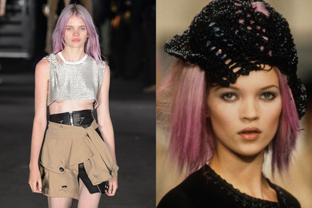 Model Stella Lucio rocked a pink-purple hair hue specially for the occasion. Wang was supposedly inspired by Kate Moss on the Chanel runway for spring 1994.