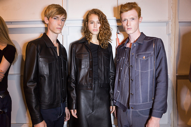 He also showed a couple of leather jackets with a sleek, boxy-cut.