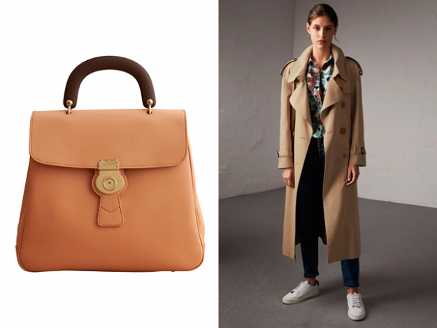 The Large DK88 Top Handle Bag and Resin Button Cotton Gabardine Oversize Trench Coat
