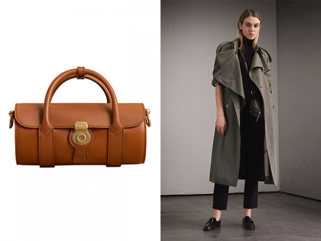The Mini DK88 Barrel Bag and Tropical Gabardine Trench Coat