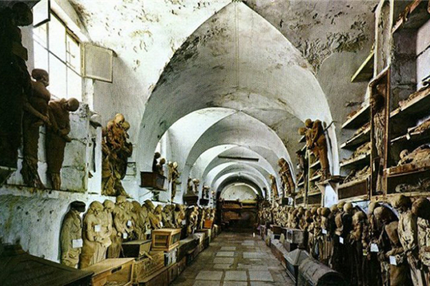 Catacombs of the Capuchins, Italy. Over 8000 spookily lifelike corpses lie in these underground crypts – some are even in rocking chairs. The bodies are eerily intact thanks to the embalming process and conditions. Heading to Sicily? You can book a tour.