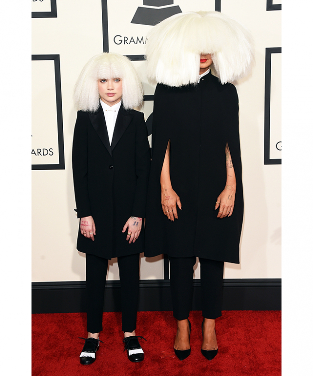 For the couple who like to pair their scare-ware, look to Sia and her minion/dancer at the Grammy's.