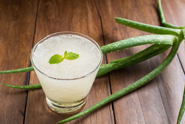 Aloe vera juice, which is a more concentrated form, is easily found unsweetened, and can then be combined with water to make a hydrating drink.