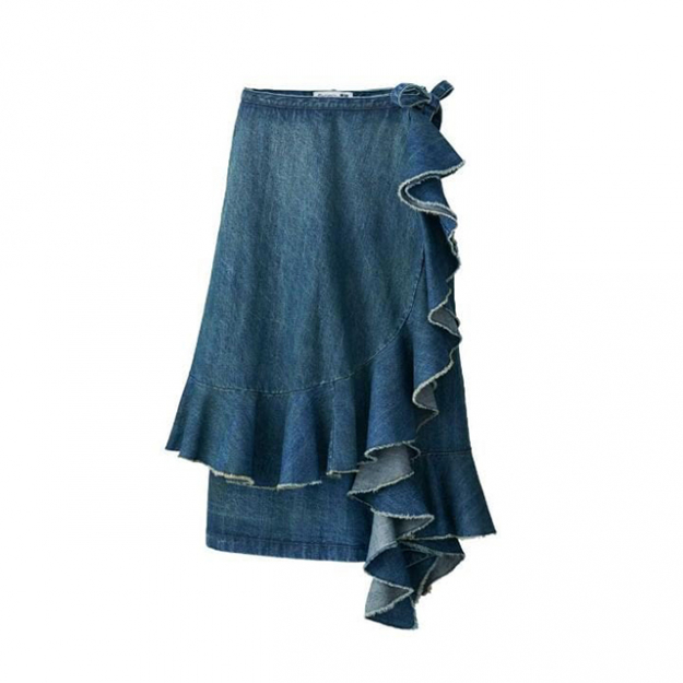 Denim ruffle wrap skirt $49.90 USD