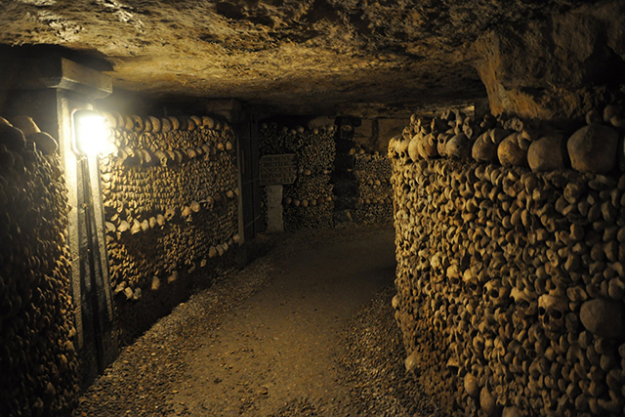 The Catacombs of Paris, France.  A sprawling underground network 20 metres beneath the city's sewers, these tombs are home to a staggering six million dead. A 2km section was recently privatised by Air Bnb.