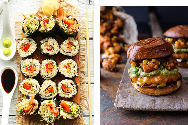 Burger vs sushi: Sushi. Opt for brown rice sashimi options and avoid tempura and mayonnaise filled large white rolls - these options are on par with a takeaway burger.