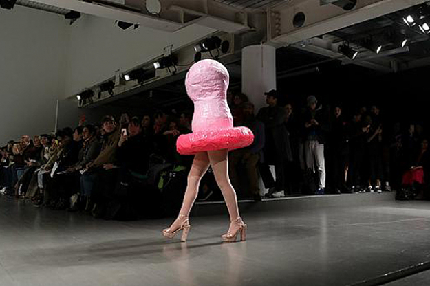Designers want you to practise safe fashion: Central Saint Martins MA graduate Edwin Mohney sent a walking condom down the runway. What better note to, uh, finish on?
