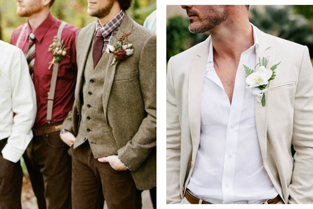 Groom style: tweed suits and relaxed tie-free ensembles. Images: Pinterest/blog.trueromanceweddings.com, Pinterest/Country House Wedding Venues