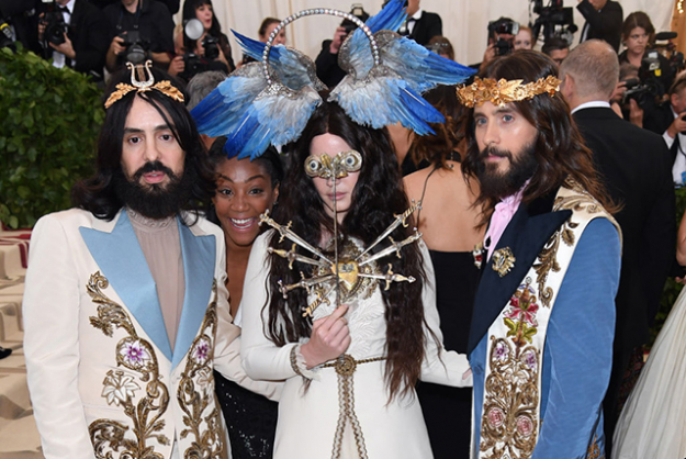 Jared Leto came as hot Gucci Jesus with Lana Del Rey and Alessandro Michele his faithful trio of Gucci-fied disciples. Image credit: Getty Images.