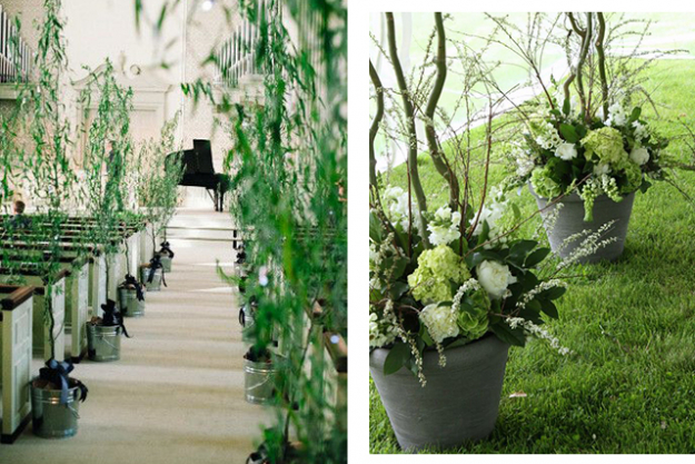 Wedding décor: add some potted plants. Images: Pinterest/Ella Woods, Pinterest/Blush Floral Design